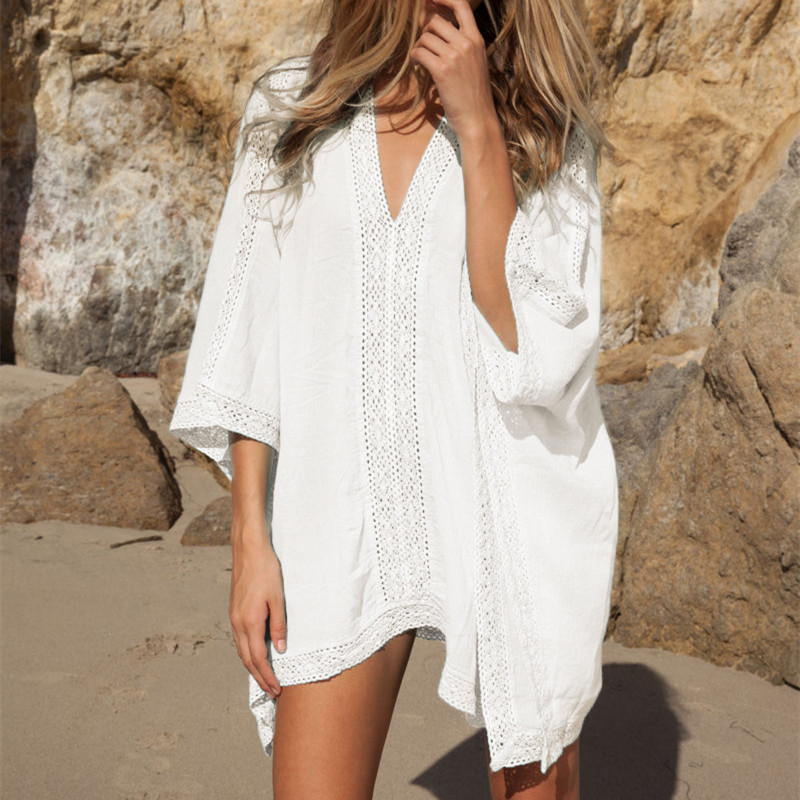 plunge front caftan pareo beach cover ups rayon white robe de plage sarong plus size swimwear. Black Bedroom Furniture Sets. Home Design Ideas