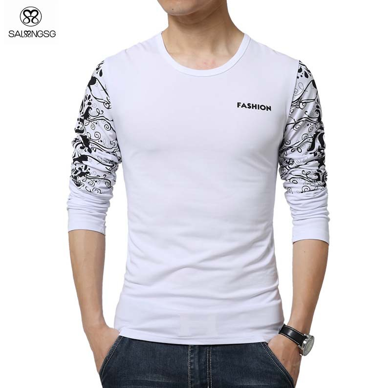 Luxury brand t shirt men basic top long sleeve floral for Long sleeve printed t shirts