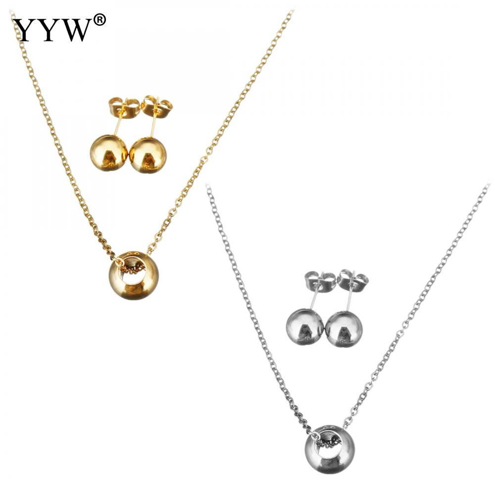 New Classic Simple Silver/Gold Color Plated Stainless Steel Jewelry Set Fashion Pendant Necklace Elegant Stud Earring for Woman gold earrings for women