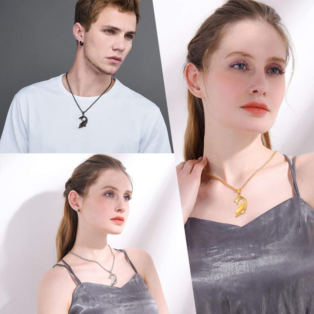 U7 ogrlica s dupinima srebrna boja privjesak i lanac od nehrđajućeg - Modni nakit - Foto 2