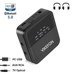 Bluetooth 5.0 Audio Transmitter Receiver & AUTO ON Adapter for TV/Car SPDIF/3.5mm & Display Screen aptX HD, aptX LL, Low Latency