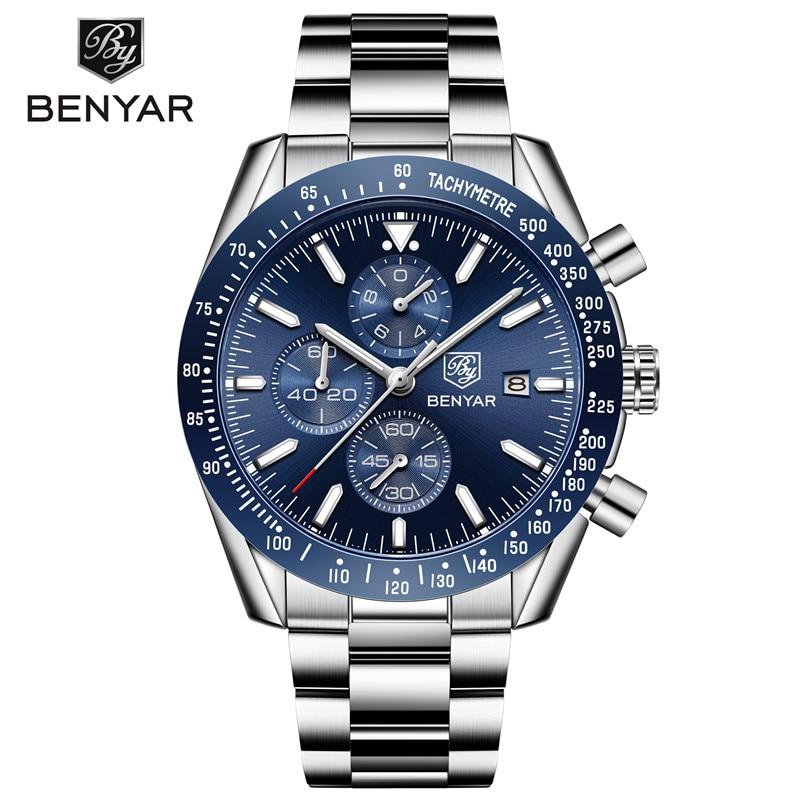 Men's Watches BENYAR Brand Luxury Silicone Strap Waterproof Sports Quartz Watch Men Chronograph Military Clock Relogio Masculino