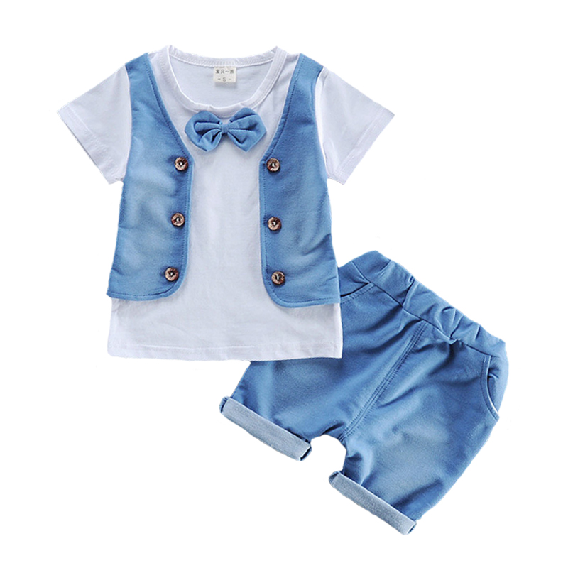 Newest 2017 Summer Baby Boys Suits Infant Wear Cotton Clothes Sets Vest T Shirt+Shorts 2 Pcs Kids Children Casual Sports Suits
