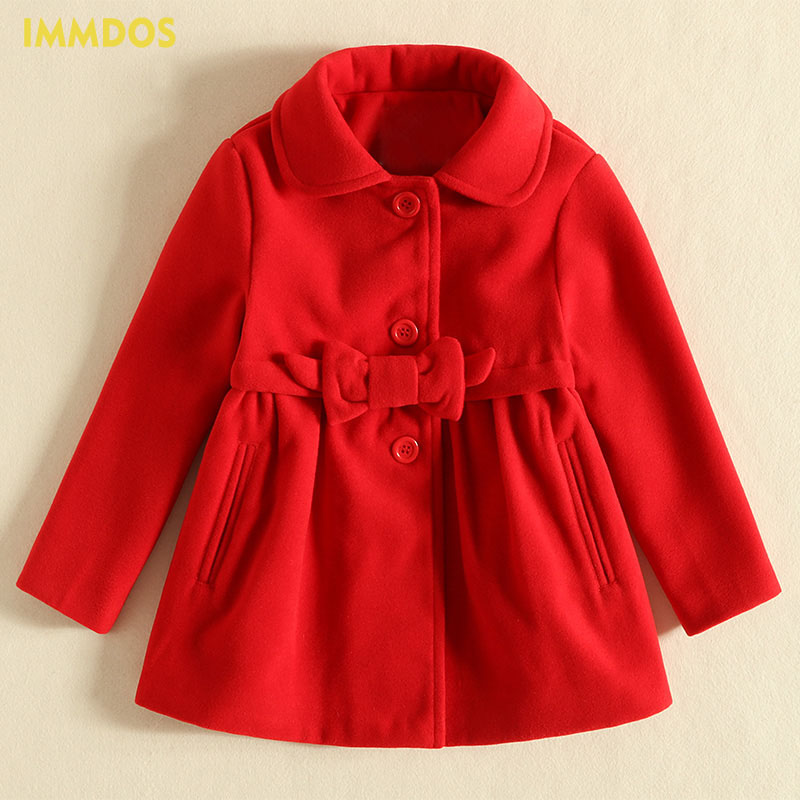 IMMDOS Winter Wool Coat For Girl Kids Solid Lolita Long Sleeve Outerwear Bow Lapel Coat  Children Warm Clothes Baby Clothing immdos children coat for girl winter wool outerwear kids long sleeve hooded warm baby clothing girls solid fashion jacket