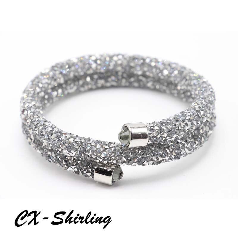 ce7290f5aea Misturar 15 Cores laminado cristal manguito pulseira dupla camada feita com  cristais Austríacos para as mulheres de jóias de casamento da noiva
