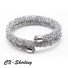 Mix 12 Colors rolled crystal cuff bangle double layer made with Austrian crystals for women bride wedding jewelry