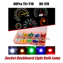 DC12V 40Pcs Car T5 T10 Car Interior LED Instrument Panel Socket Dashboard Light Bulb Lamp LED Auto Instrument Cluster Lamp(China)