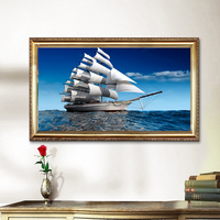 Sailing Boat In The Ocean Painting On Linen Spray Poster No Frame Oil Paintings Home Decor