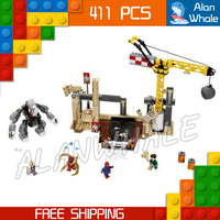 411pcs 07021 Captain America Bela Marvel Rhino and Sandman Villain Team Up DIY Building Blocks Compatible with Lego