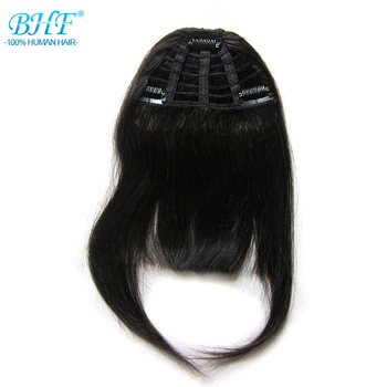 BHF Human Hair Bangs 8inch 20g clip in Straight Remy Natural Fringe Hair 3 clip Front Bangs 1