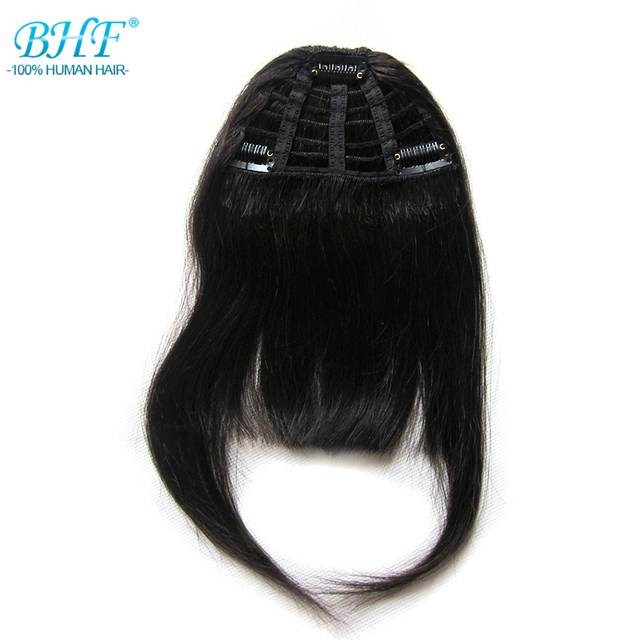 BHF Human Hair Bangs 8inch 20g clip in Straight Remy Natural Fringe Hair