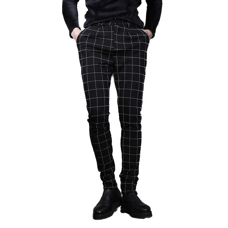 2017 Men clothing Bigbang Hair Stylist fashion casual grid pants taper pants slim personalized fancy trousers singer costumes  Рубашка