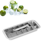 Lever style Ice Cube Tray 2 In 1 Stainless Steel Ice Making Mold And Ice Cracker Easy Make 18 Cubes At 1 Time