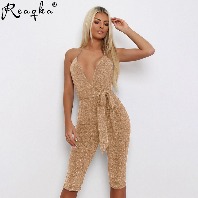 2019 New Arrivals Women Sexy Deep V Neck Skinny Jumpsuits Fashion Sleeveless Spring Summer Catsuit Rompers Slim Casual Overalls