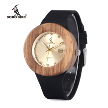 BOBO BIRD B30 Men Women Wooden Wristwatch Auto Date Quartz Ladies Gold Watch with Leather reloj mujer 2016