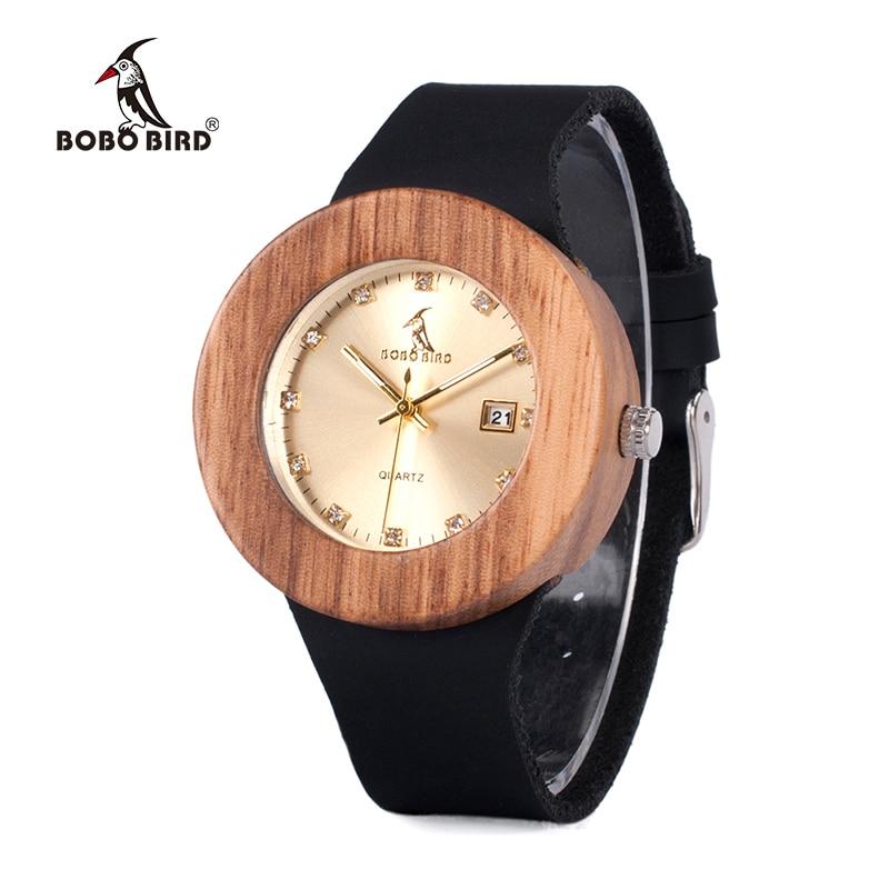 Часы BOBO BIRD для мужчин и женщин, деревянные наручные часы с автоматической датой, Кварцевые женские золотые часы с кожаным ремешком