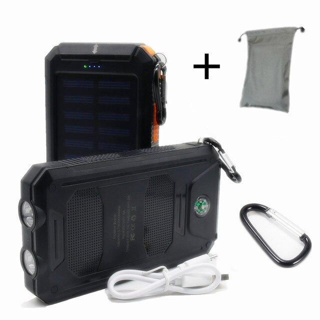 Новый 12000 мАч Открытый Портативный Солнечный Power Bank Настоящее 12000 мАч powerbank Внешняя Батарея DUAL USB Порты Зарядное Устройство Автомобильное Зарядное Устройство