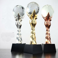Hot!Customized Metal Champions League Trophy With a Crystal Football For World Cup Trophy Sports Souvenirs Soccer Awards Cups