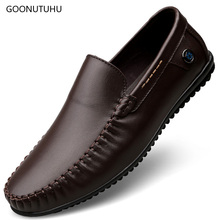 2019 new mens shoes casual genuine leather loafers male slip-on black & brown platform for men big size driving shoe man
