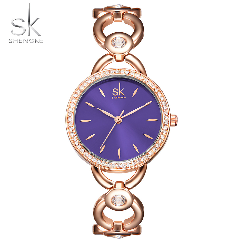2017 New Luxury Brand Watch Casual SK Diamond Women Quartz Watch Rose Gold Lady Dress Watch Relojes Mujer Relogio Montre Femme skullies