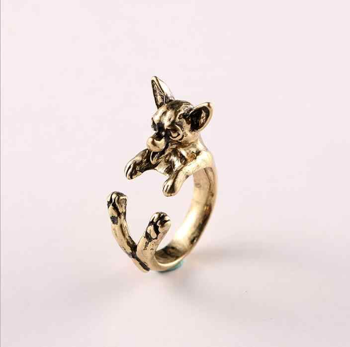 Vintage Chihuahua dog Ring Cute Animal Anel Retro Alloy  Bulldog adjustable ings  Anillos Mujer Men's Bijoux