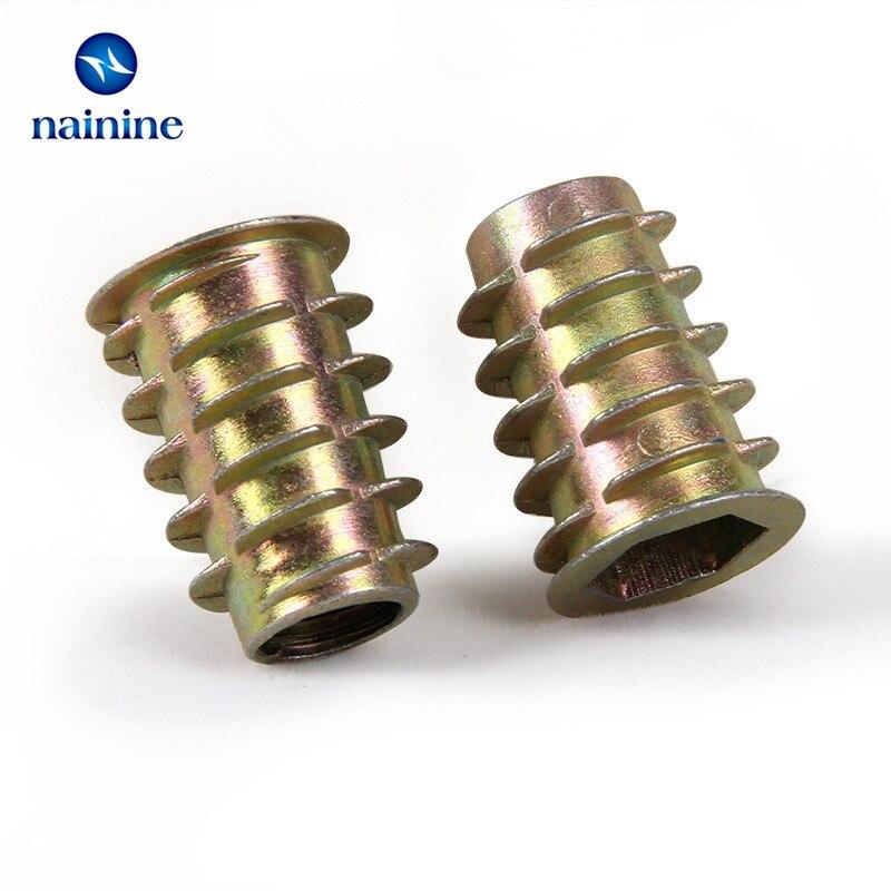 10/20/30/50Pcs M4 M5 M6 M8 M10 Zinc Alloy Thread For Wood Insert Nut Flanged Hex Drive Head Furniture Nuts HW058