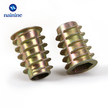 50Pcs M4/M5/M6*8/10/13 Zinc Alloy Thread For Wood Insert Nut Flanged Hex Drive Head Furniture Nuts HW058