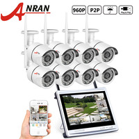 ANRAN P2P 8CH WIFI NVR 12 Inch LCD Monitor 36 IR Waterproof Surveillance Security 960P Wireless