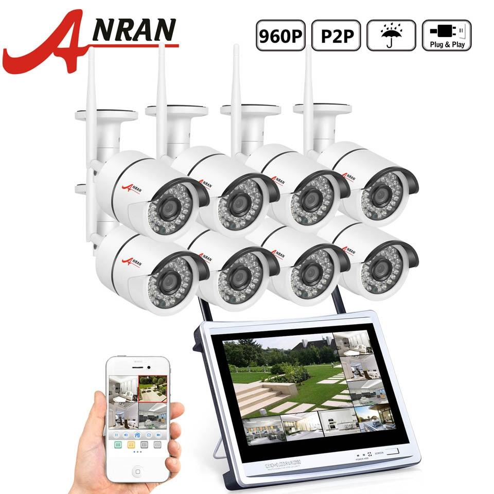 ANRAN P2P 8CH WIFI NVR 12 Inch LCD Monitor 36 IR Waterproof Surveillance Security 960P Wireless