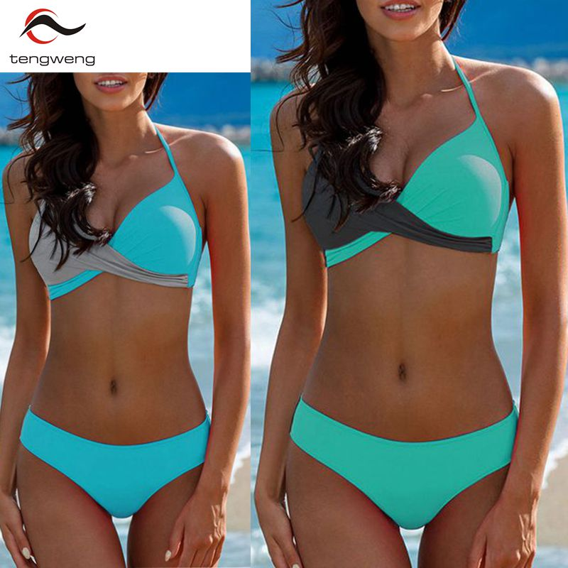 a06cf07c9a 2019 Sexy Solid Push Up Bikini Set Plus Size Swimwear Women Swimsuit Female  Brazilian Biquini bandage
