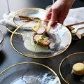 Рождественские украшения для дома  японский Пномпень  чаша с золотыми краями  стеклянная чаша  блюдо  блюдо для стейка  жаростойкая стеклянн...