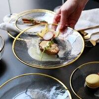Decorações de natal para casa japonês phnom penh  tigela de borda de ouro  tigela de vidro  prato  prato de bife  placa de tigela de vidro resistente ao calor|bowl plate|steak dish|dish dishes -