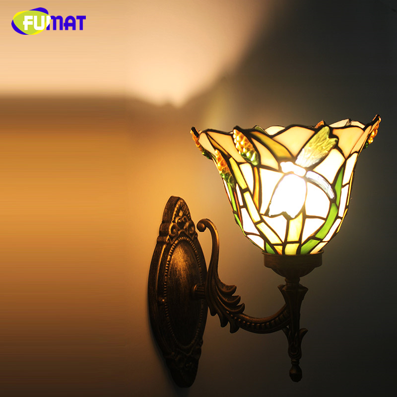 FUMAT Stained Glass Wall Lamp Bedside Lights European Grape Wall Lamp Sconces Creative Art Glass Shade Corridor Aisle Wall Lamps fumat stained glass table lamp high quality goddess lamp art collect creative home docor table lamp living room light fixtures