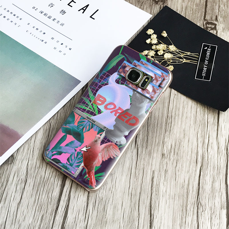 Vaporwave Coque Fashion Phone Case Cover Shell For Samsung Galaxy S4 S5 S6 S7 Edge S8 Plus Note 8 2 3 4 5 A5 A7 J5 2016 J7 2017