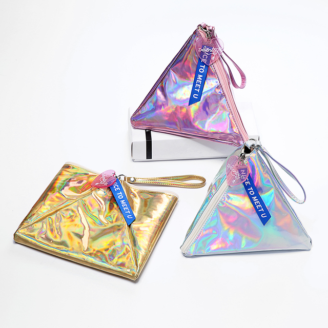 Bentoy Shining Leather Women's Handbag Personality Triangle Purse Hologram Clutch Evening Bag Fashion Wristlets Ladies Purse 4