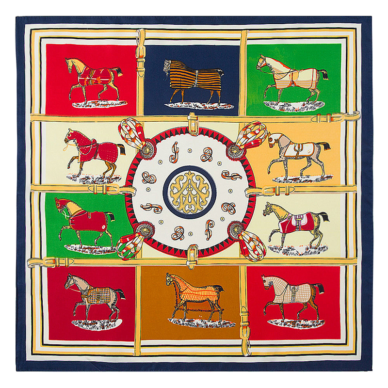 POBING 100% Silk Square   Scarf   Spain Ten Horse Printed   Scarves   High Quality Square Foulard NeckerChief Small Bandana Lady Hijab