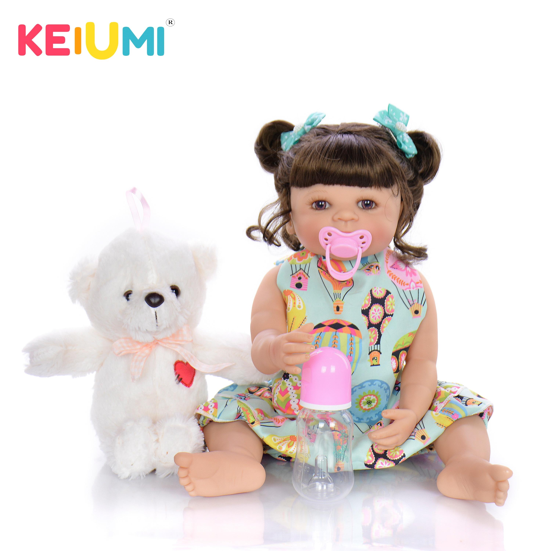 KEIUMI Reborn Baby 22 ''dziewczyna silikonowe całego ciała winylu 55 cm realistyczne niemowlę lalki dla dzieci prezenty na dzień czas łóżko playmate w Lalki od Zabawki i hobby na  Grupa 1
