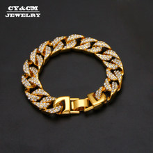 "13mm Mens Luxury Rhinestone Bracelet Bangles Alloy Heavy Miami Cuban Link Chain Bracelets Hip Hop Punk Jewelry for Men Women 8""(China)"