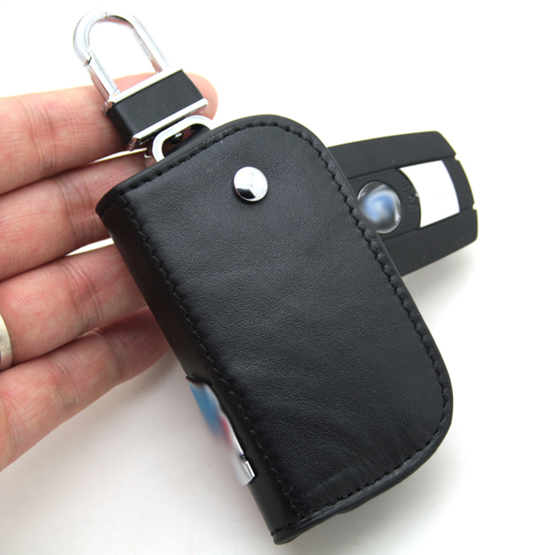 10pcs M Black Leather Key Case Keyring Key Chain Car Styling Car Embelm with Black box Shipping Free
