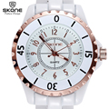 SKONE Original Brand Fashion Women's Watches With Rose Gold Bezel & White Faux Ceramic Watchband Quartz Wristwatches for  Ladies