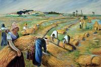 Famous Canvas Art Painting The Harvest Camille Pissarro Oil Painting for Living Room Wall Home Decoration Handpainted