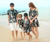 New Summer Sandbeach Family Outfits Women Girls Flower Long Dress Man Boys Sets Clothes Free Shipping