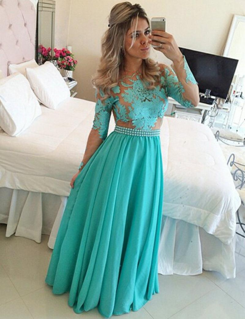 Popular Chiffon Long Lace Prom Dress-Buy Cheap Chiffon Long Lace ...
