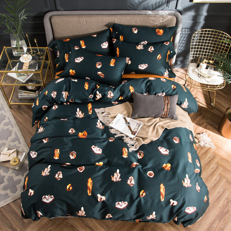 2018 Jewels Stones Dark Green Bedding Set 4Pcs Queen King Size Egyptian Cotton Fabric Duvet Cover Flat Sheet Pillow Cases2018 Jewels Stones Dark Green Bedding Set 4Pcs Queen King Size Egyptian Cotton Fabric Duvet Cover Flat Sheet Pillow Cases