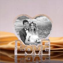 사진 크리스탈 프레임 사용자 정의 심장 빙산 웨딩 생일 선물 침실 장식 개인화 된 액자 에칭 유리 공예