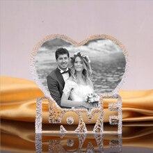 Quadro de cristal da foto personalizado coração iceberg presente de aniversário casamento quarto ornamento molduras personalizadas gravadas artesanato de vidro