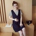 Falso duas peças de algodão de manga curta dress listrado vestidos de verão amamentação roupas de enfermagem roupas amamentação 2017 mais novo
