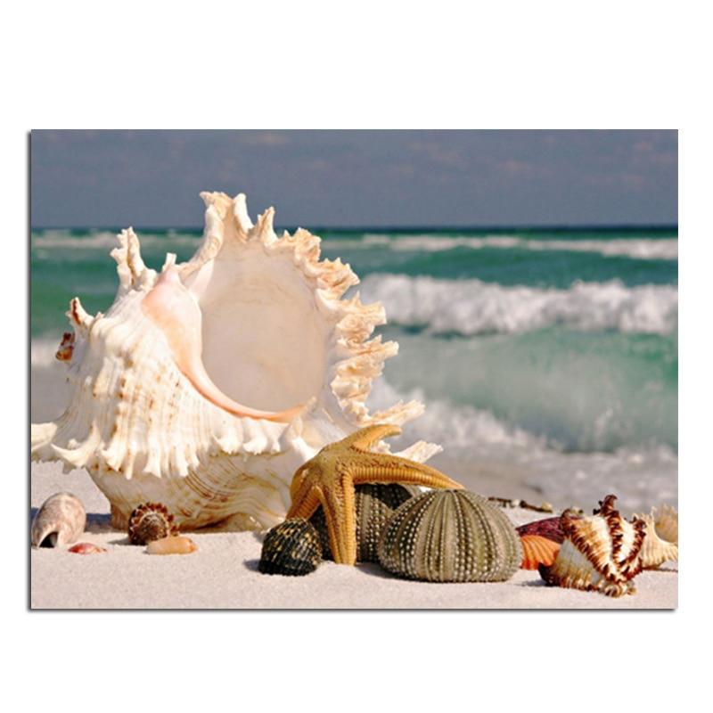 Sea Shell 27x20cm Nové 100% celokrajové zvýraznění Diamond Needlework Diy Diamantová malba 3D Diamond Cross Stitch Embroidery