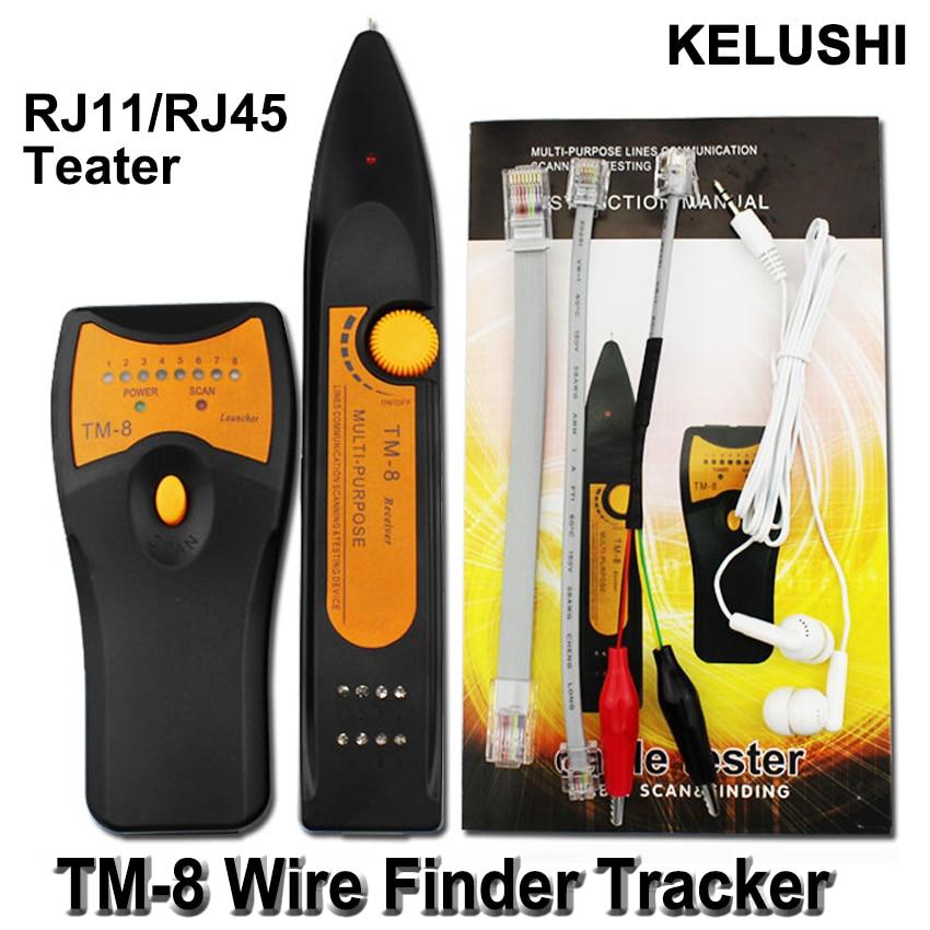 KELUSHI 2018 Más reciente RJ11 RJ45 Cat5 Cat6 Teléfono Rastreador de alambre Tóner Ethernet LAN Probador de cable de red Detector de línea Buscador TM8