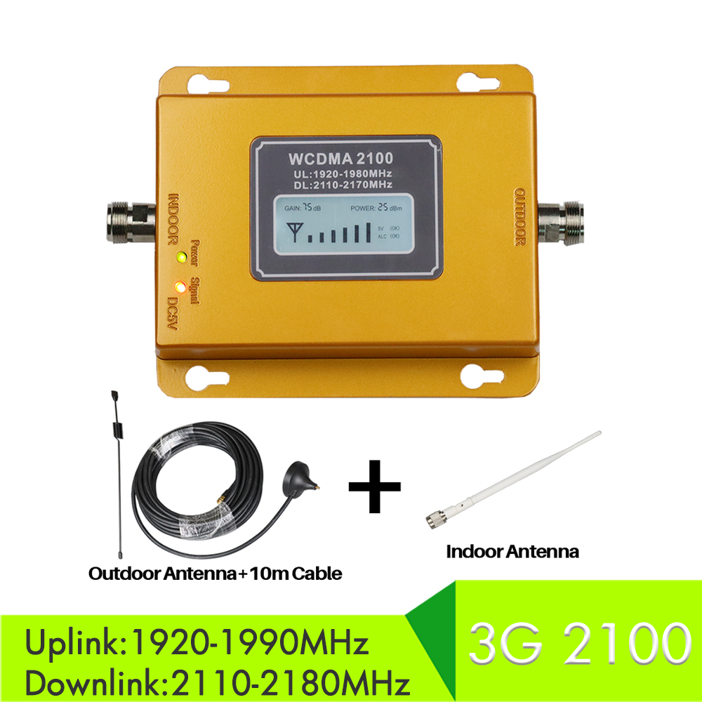 3G Cell Phone Booster 2100mhz 75db Booster LCD Display Repetidor Celular Mobile Signal Repeater with indoor outdoor antenna set3G Cell Phone Booster 2100mhz 75db Booster LCD Display Repetidor Celular Mobile Signal Repeater with indoor outdoor antenna set